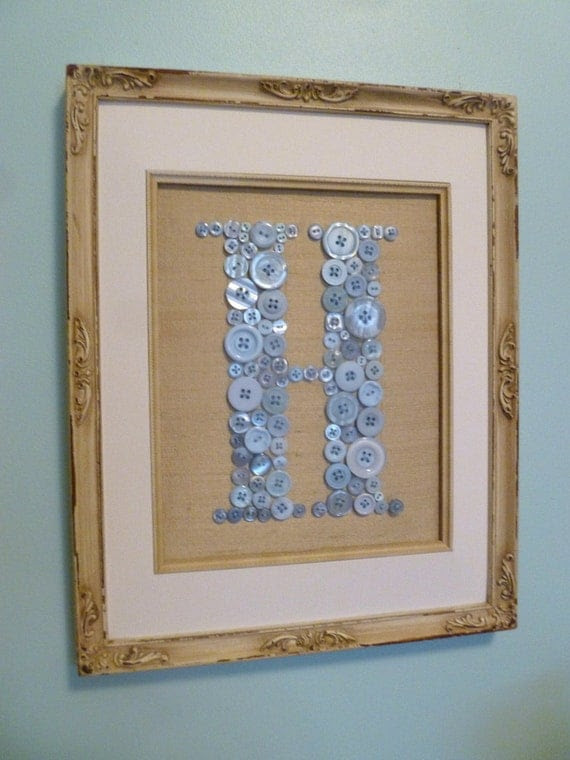 "Vintage Style Boy Nursery Button Monogram -- Baby Blue on Antique White Silk -- Ready to Frame in 8""x10"" Frame (frame not included)"