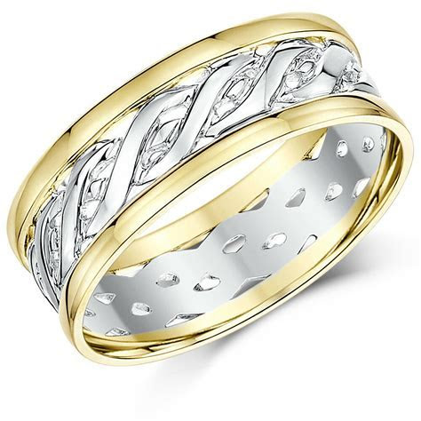 9ct Yellow & White Gold Two Colour Celtic Wedding Ring