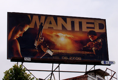 WANTED movie billboard with Angelina Jolie and James McAvoy