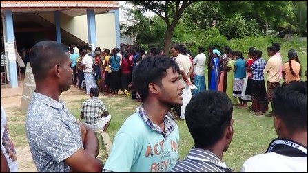 People voting in NPC elections at Puththoor