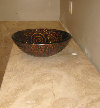 Travertine Bathroom Vanity Top In Austin Texas