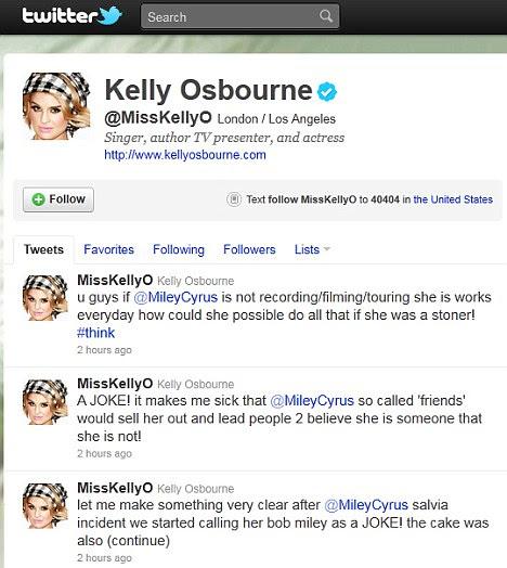 Defesa: Kelly mais tarde levou para sua página do Twitter para dizer que o seu falar sobre fumar maconha era tudo uma brincadeira