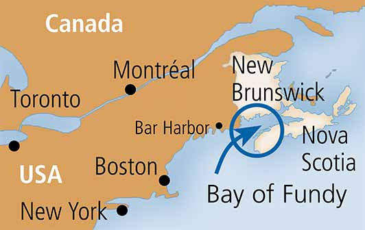 Bay of Fundy map showing the eastern seaboard, New York, Boston, Portland, Bar Harbor, Montréal, Toronto, New Brunswick and Nova Scotia