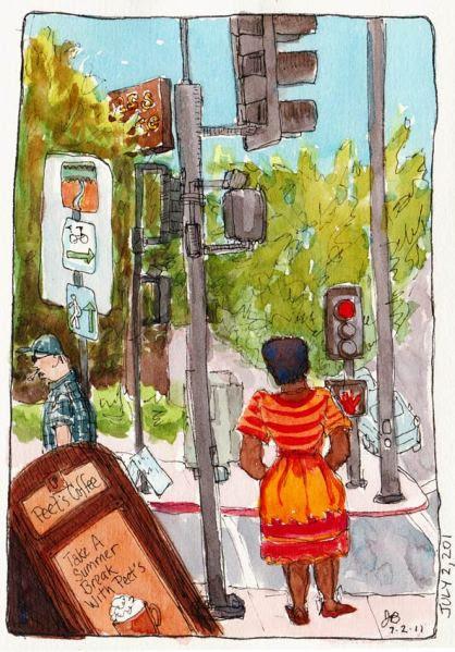 "Peet's Coffee Corner, El Cerrito, ink & watercolor, 7x5"""