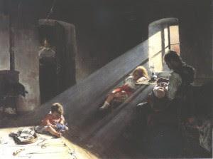 Funeral, obra de Pataky László. Vallatás (1886)