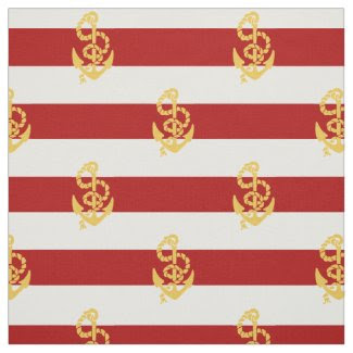 Yellow Anchor Red And White Striped Background Fabric