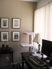 Badly lit pic of my burlap wall, right side of the alcove.