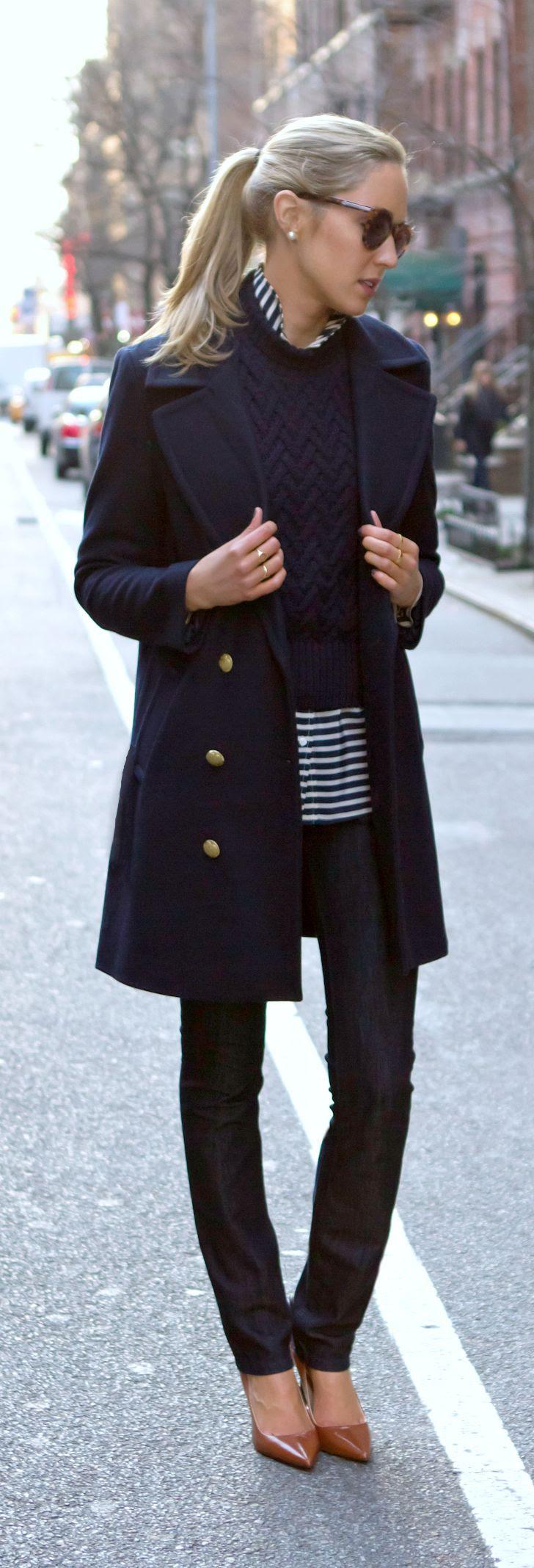 casual friday on the blog today {navy coat, striped shirt, cable turtleneck, karen walker super duper}