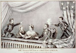 The assassination of Abraham Lincoln; From left to right: Henry Rathbone, Clara Harris, Mary Todd Lincoln, Abraham Lincoln and John Wilkes Booth