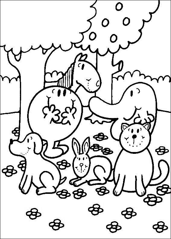 Coloriage A Imprimer Monsieur Heureux Dans Le Jardin Avec Les