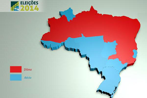 Dilma ganhou em 15 estados, enquanto Aécio venceu em 11 e no Distrito Federal