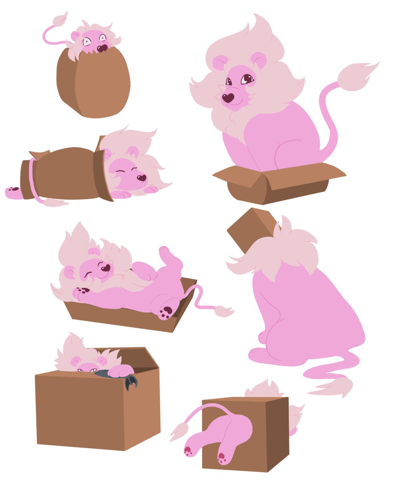 Took some inspiration from Maru to draw Lion playing around in boxes.