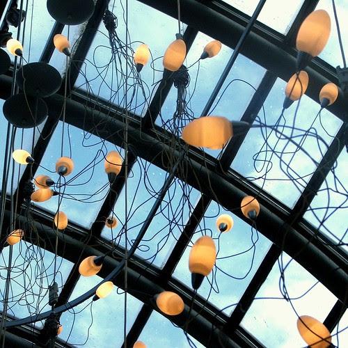 Bulbs, wires, skylight