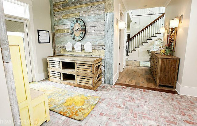 Mudroom. Rustic mudroom with reclaimed barnwood and reclaimed brick floors. #Mudroom