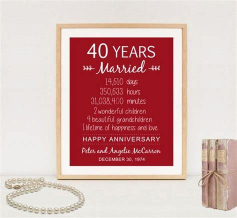 40th Anniversary Gift   40 years Wedding Anniversary