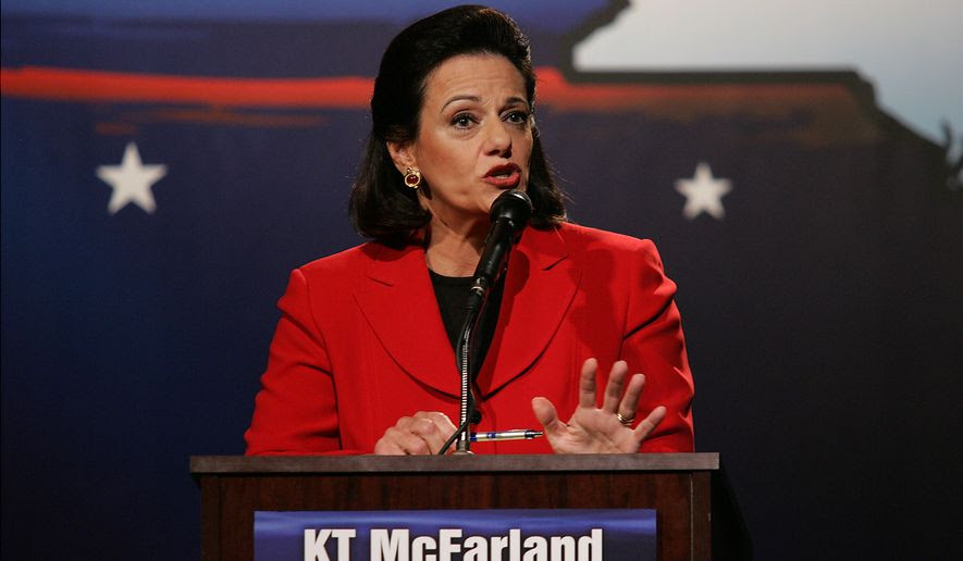 "Candidate Kathleen Troia ""KT"" McFarland debates against John Spencer for the republican Senate nomination, on the campus of Pace University in New York on Wednesday, Aug. 9, 2006.  (AP Photo/Angel Chevrestt, Pool)"