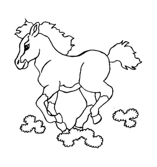 Dibujo De Caballo Corriendo En Las Nubes Para Pintar Y Colorear