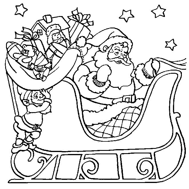 Free Coloring Pages For Kids Santa Drawing With Crayons