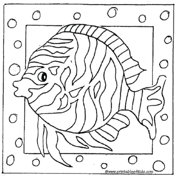 Fish Tank Coloring Pages For Kids Drawing With Crayons