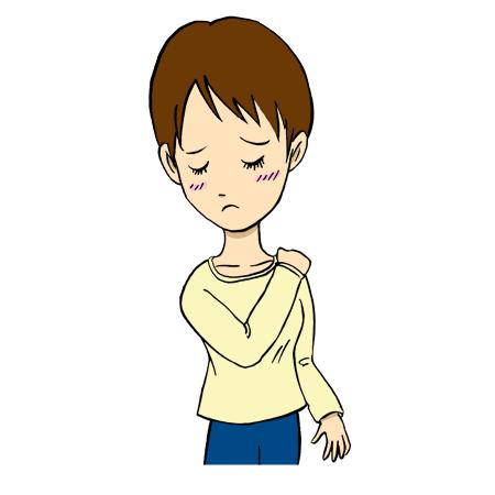 肩こりで肩が痛い悩む女性イラスト
