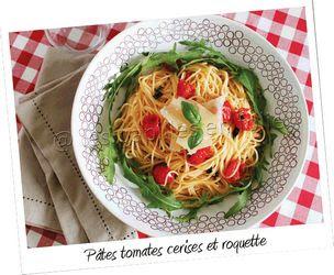 assiette de pates aux tomates cerises