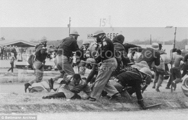 Sheriff's Mob Posse Beats Nonviolent Civil Rights Demonstrators at Edmund Pettus Bridge in Selma