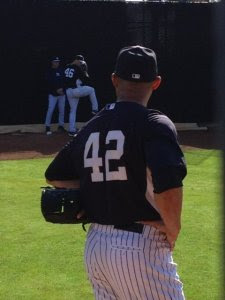 Mariano Rivera watching Andy Pettitte throw a bullpen session