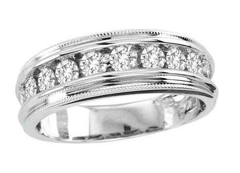 Mens White Gold Diamond Wedding Band   eBay