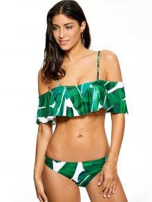 Ruffles Off The Shoulder Bikini - Green