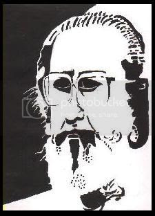 Oviyar Dhanabal. Medium Used: Black and White, poster colours. (c) Pavithra