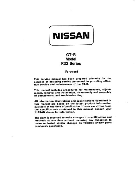 Nissan GTR R32 Service Manual | Belt (Mechanical) | Four