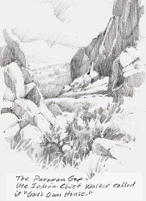 Roland Lee sketchbook drawing of Parowan Gap in southern Utah