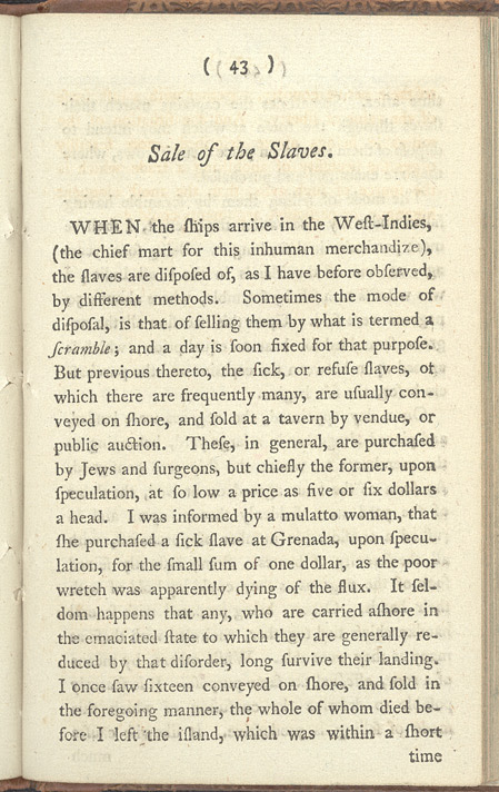 'An Account Of The Slave Trade On The Coast Of Africa', 1788