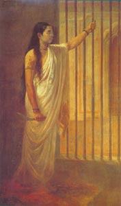 Raja Ravi Varma (1848 - 1906) - Lady in Prison, Sri Chitra Art Gallery, Thiruvananthapuram