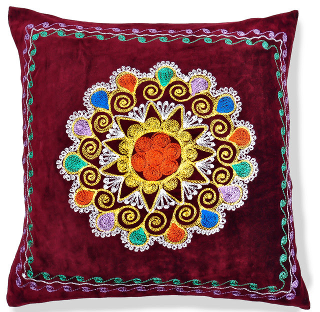 """20"""" Patduzi Embroidered Pillow Cover - pillows - other metro - by"""