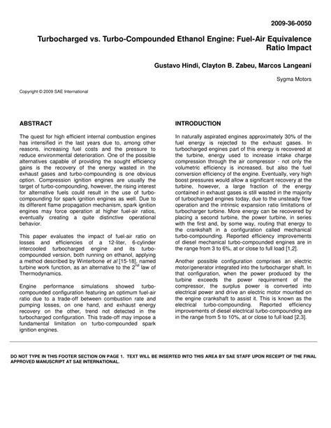 (PDF) Turbocharged vs. Turbo-Compounded Ethanol Engine