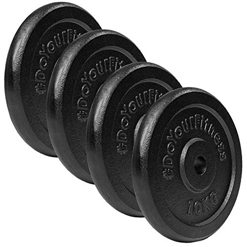 4x 10kg weight plates made of 100 % cast iron / Black! 30/31 mm hole with colourful neoprene covering for shock absorption. Variable use: Barbell or dumbbell / 4x 10kg
