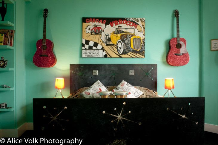 Hotel Pelirocco Rockabilly Room launch interior photography brighton holiday 50's theme