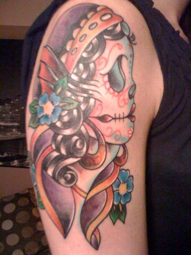 Gypsy Sugar Skull Tattoo On Shoulder Tattoos Book 65000 Tattoos