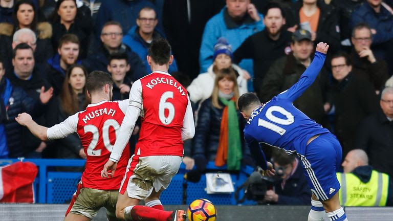 Eden Hazard scores Chelsea's second goal against Arsenal