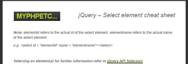 jQuery – Select Element Cheat Sheet (PDF)
