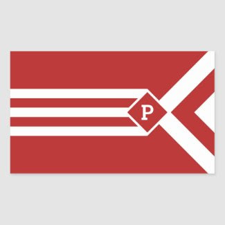 White Stripes and Chevrons on Red with Monogram Rectangular Sticker