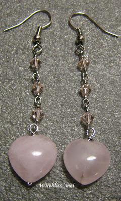 Wire Wrap Rose Quartz Heart Earring