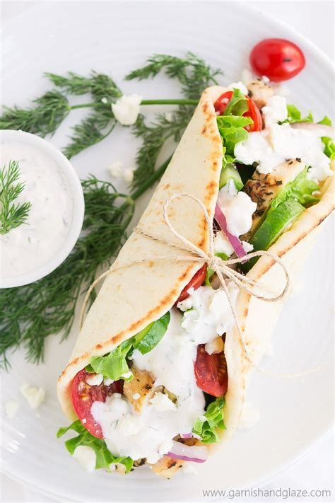 Greek Chicken Gyros with Tzatziki Sauce   Garnish & Glaze