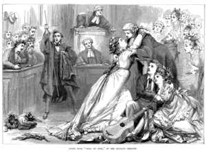 Engraving of Gilbert and Sullivan's Trial by Jury.