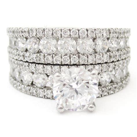 2.72ctw Round Cut Triple Row Diamond Engagement Ring