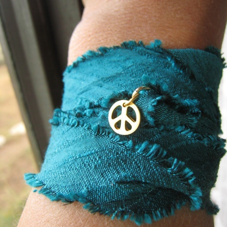 Silk ribbon wrap -- hand dyed raw silk electric turquoise ribbon with 24kt vermeil peace charm