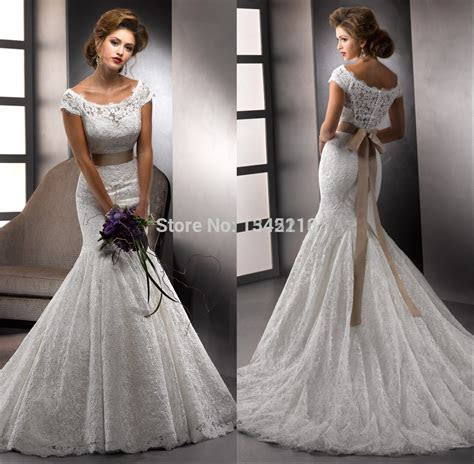 Aliexpress.com : Buy Short Sleeves Lace Mermaid Wedding