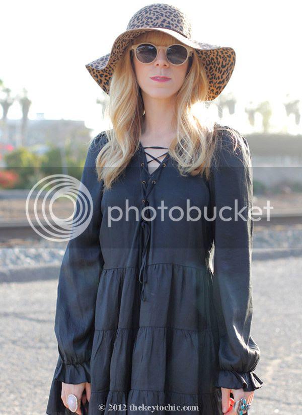 Nasty Gal black dress, leopard print floppy hat, fringe handbag, southern California style, Los Angeles fashion blogger