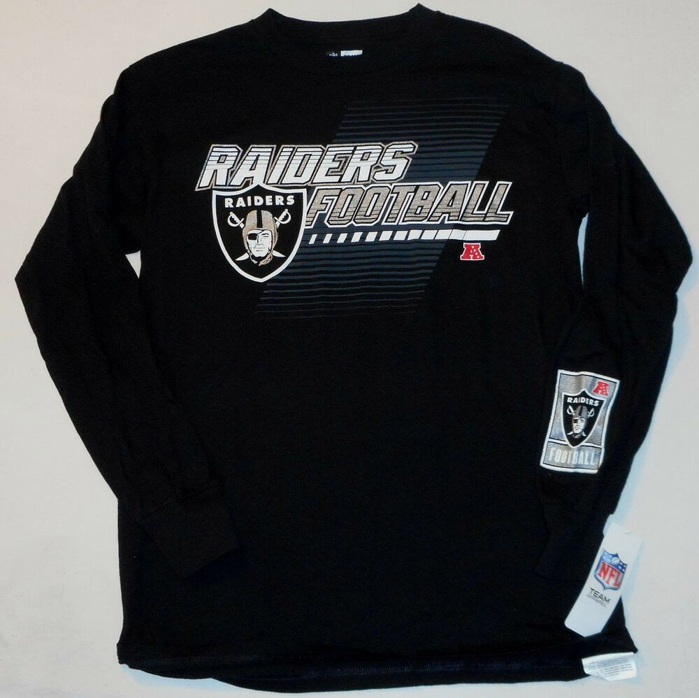 OAKLAND RAIDERS NFL TEAM APPAREL MENS LONG SLEEVE T SHIRT BLACK M L XL NWT  eBay